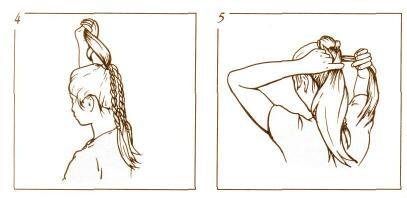 ДВОЙНАЯ КОСА.  1. Часть волос соберите на затылке резинкой в хвостик как...